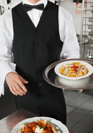 Waiter Holding Dish In Kitchen Stock Photo - 18414507