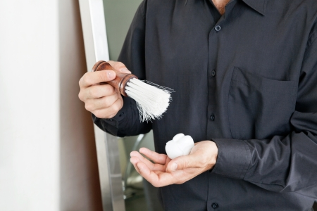 Male Hairdresser With Brush And Shaving Cream Stock Photo - 18414587