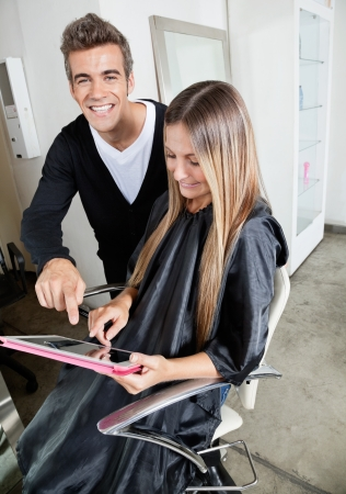 examples: Hairdresser And Customer With Digital Tablet