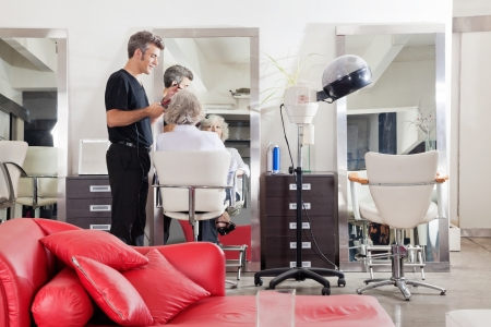 beauty parlor: Hairstylist Straightening Client s Hair At Salon