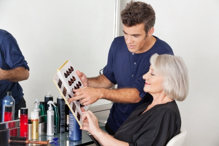 Hairstylist Choosing Hair Color For Customer Stock Photo - 18521636