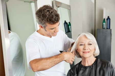 Client Getting Haircut By Hairstylist Stock Photo - 18793410