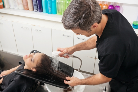 woman washing hair: Hairdresser Washing Client s Hair