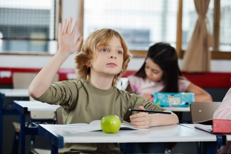 class room: Schoolboy Looking Away While Raising Hand At Desk