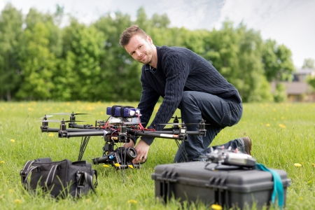 Portrait of man with an UAV Aerial Photography photo