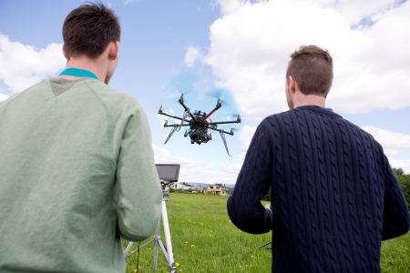 Pilot and Photographer Operating Photography Drone Reklamní fotografie