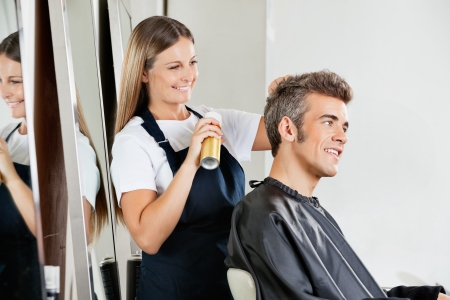 Hairstylist Setting Client s Hair At Parlor photo