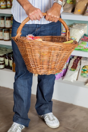 Low Section Of Man Holding Wicker Basket Stock Photo - 20419387