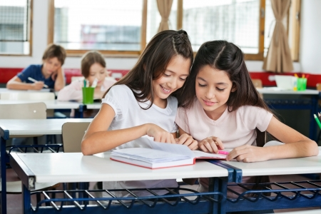 kids reading book: Schoolgirls Studying Together At Desk Stock Photo