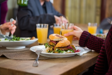 coffeeshop: Tasty Burger On Plate Stock Photo