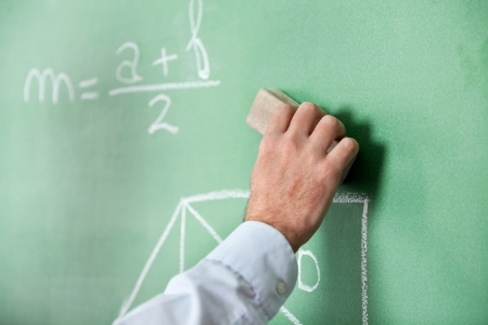 greenboard: Male Teacher S Hand Wiping Board With Duster