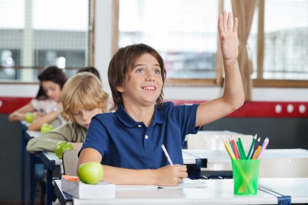 Happy little schoolboy raising hand while sitting at desk with classmates studying in background Stock Photo