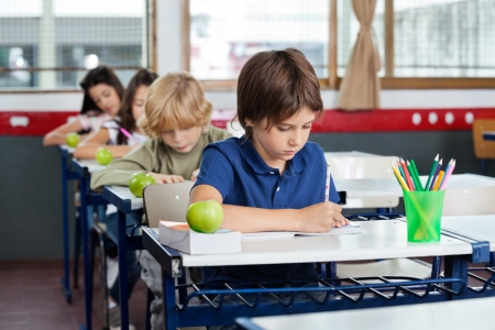 Elementary schoolchildren writing in books at desk in classroom photo