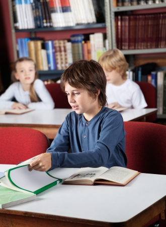 Little schoolboy studying at table in library Reklamní fotografie - 22614147