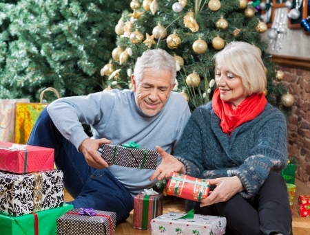 Senior couple with presents sitting on floor in Christmas store photo
