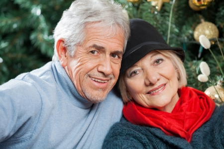 Portrait of happy senior couple at Christmas store photo