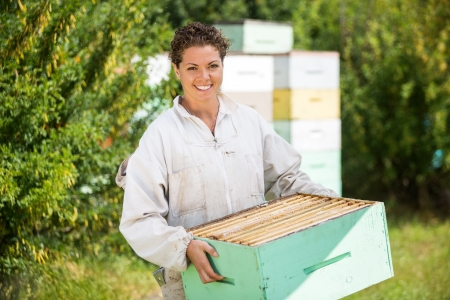 beekeeper: Portrait of confident female beekeeper carrying honeycomb crate at apiary Stock Photo