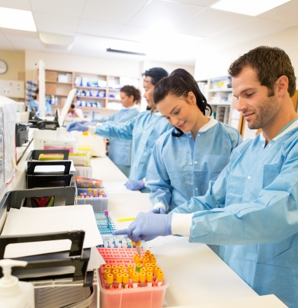 research facilities: Hospital lab preparing samples for referral