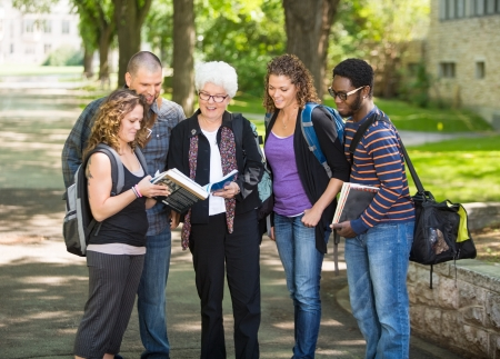college professor: Group of multiethnic students discussing notes on campus road