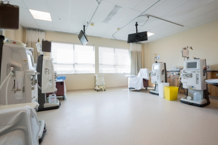 filtering: Dialysis machines in empty hospital room