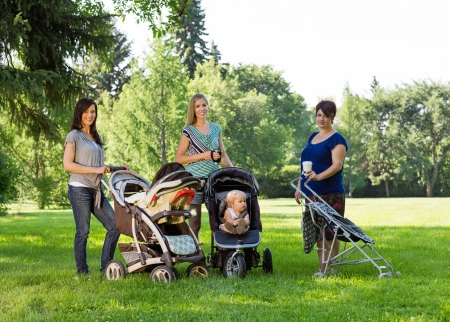 Portrait of happy mothers with baby carriages standing in park photo