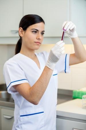 specimen testing: Muestra de sangre femenina joven t�cnico de an�lisis en el laboratorio