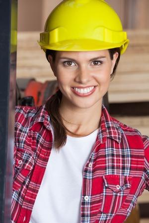 Closeup Of Confident Engineer Wearing Hardhat photo