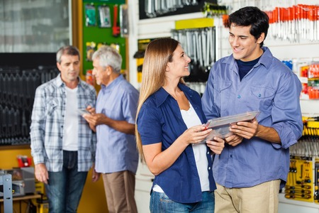 shopping questions: Couple Buying Tool Set In Hardware Store