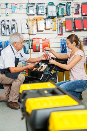 couching: Salesman Assisting Customer In Selecting Tools At Store Stock Photo