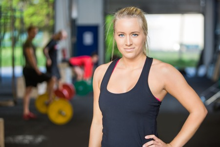 Portrait Of Confident Woman in Gym Stock Photo