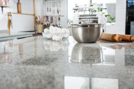 countertop: Ingredients On Marble Countertop In Commercial Kitchen