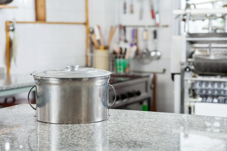 Pasta Pot On Countertop In Commercial Kitchen