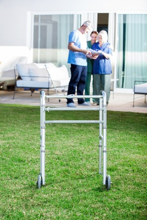 mobility nursing: Walking Frame On Lawn At Nursing Home