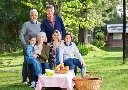 multi generation: Multi Generation Family Enjoying Picnic In Park Stock Photo