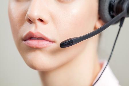 customer service representative: Closeup Of Customer Service Representative Wearing Headset