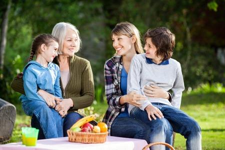 abuela: Familia que disfruta de la comida campestre en el parque