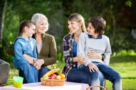 grandmother mother daughter: Family Enjoying Picnic In Park