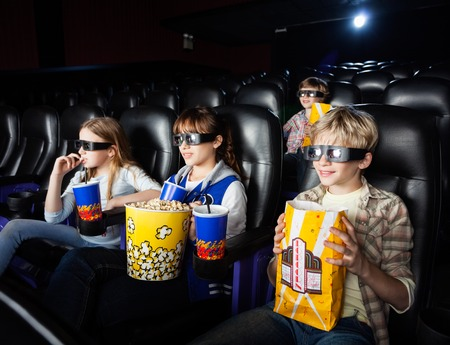 3d: Siblings Watching 3D Movie In Theater