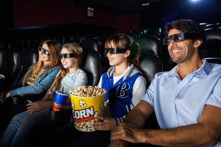 3d: Happy Family Watching 3D Movie
