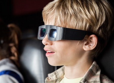 3d: Boy Watching 3D Movie In Theater