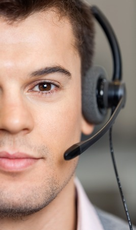 Handsome Customer Service Representative Wearing Headset