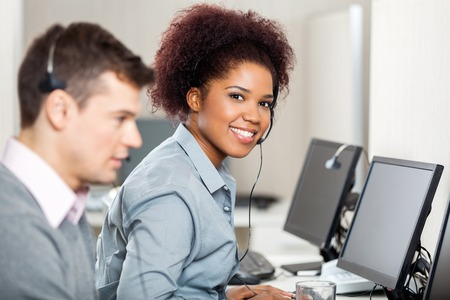 call center female: Female Employee Working In Call Center