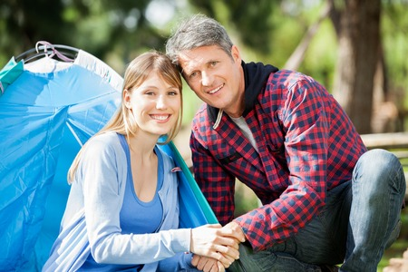 Smiling Couple Camping In Park photo