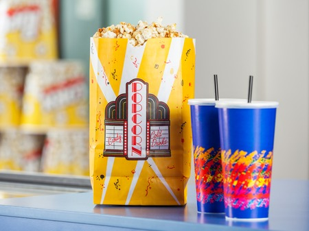 concession: Popcorn And Drinks On Concession Stand