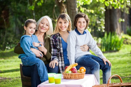 multi generation: Multi Generation Family Enjoying Picnic At Park