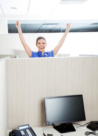 cubicle: Successful Customer Service Representative In Cubicle Stock Photo