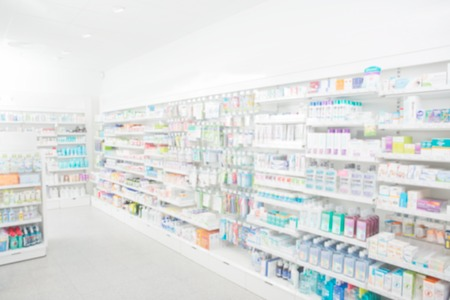 shelves: Pharmacy interior with blurred background