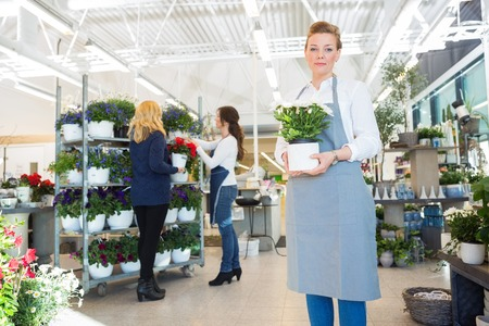 salesgirl: Portrait of confident salesgirl holding flower pot with customer and colleague in background at shop