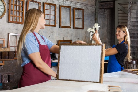 deckle: Happy mid adult female worker holding mold with paper while looking at colleague in factory