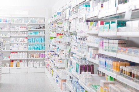 substance: Pharmacy interior with blurred background